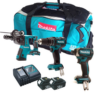Makita 3 Piece All Brushless Kit 2 X 3.0Ah Batteries, Charger, Tool Bag from Toolden