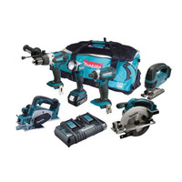 Makita DLX6067PT 6 Piece 18v LXT Li-Ion Cordless Tool Kit with Twin Fast Charger from Toolden