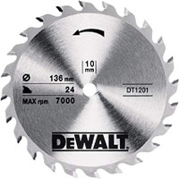 Dewalt Trim Saw Blade 136 x 10mm x 24T Fine Finish Wood Cut