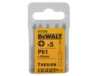 Dewalt DT7245 Torsion Bit PH1 50mm Pack of 5