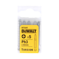 Dewalt DT7247 Torsion Bits PH3 50mm Pack of 5