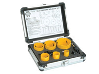 Faithfull Universal Varipitch Holesaw Electrician's Kit 9 Piece 16-51mm | Toolden