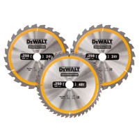 Dewalt DT1963 Construction Circular Saw Blade 3 Pack 250 x 30mm x 24T/48T (DT1963)| Toolden