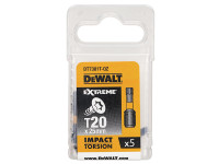 Dewalt Impact Torsion Bits TX20 25mm Pack of 5