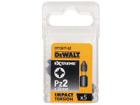 Dewalt Impact Torsion Bits PZ2 25mm Pack of 5