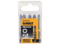 Dewalt Impact Torsion Bits PZ2 50mm Pack of 5