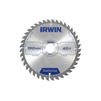 IRWIN Construction Circular Saw Blade 190 x 30mm x 40T ATB