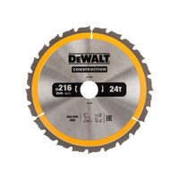 DeWalt DEWDT1952QZ Stationary Construction Circular Saw Blade 216 x 30mm x 24T ATB/Neg (DEWDT1952QZ)| Toolden