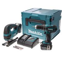 Makita DLX2024MJ Combi Drill DHP456 and Jigsaw Cordless DJV180 Twinpack with Ma