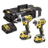 Dewalt DCK2500P2B 18V XR Tool Connect Brushless Combi Hammer Drill Driver and Impact Driver 2 x 5.0Ah Batteries