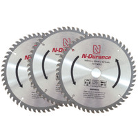 N-Durance TCT 165mm x 20mm x 52 T Circular Saw Blade Triple Pack