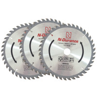 N-Durance TCT 165mm x 20mm x 40 T Circular Saw Blade Triple Pack