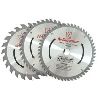 N-Durance TCT 165mm Circular Saw Blade Mixed Triple Pack 24T 40T 52T