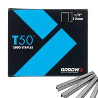 Arrow ARRT5012 T50 Staples 12mm (1/2in) Pack 5000 (4 x 1250)