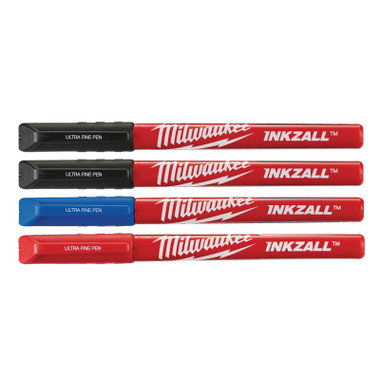 Milwaukee INKZALL™ Ultra Fine Tip Pens Assorted Colours (Pack 4) (MHT48223165)