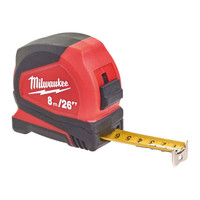 Milwaukee Pro Compact Tape Measure 8m/26ft (Width 25mm)| Toolden