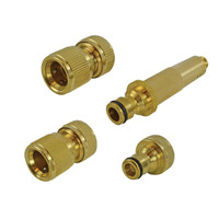 Faithfull Brass Nozzle & Fittings Kit 4 Piece 12.5mm (1/2in) (FAIHOSESET4)  Toolden
