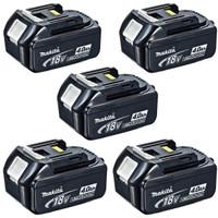 Makita BL1840 18v 4.0Ah LXT Li-Ion Battery Pack of 5