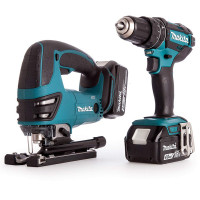 Makita DLX2134MJ 18V LXT Combi Drill and Jigsaw Kit with 2x4Ah Batteries