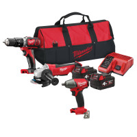 "Milwaukee M18 BPP20 Combi ,Grinder & 1/2"" Wrench Triple Pack 18V 2 x 4.0Ah Li-ion Batteries"