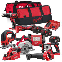 Milwaukee M18 BPP2P-18V Cordless 8pc Kit 3 x 4.0Ah Li-ion Batteries