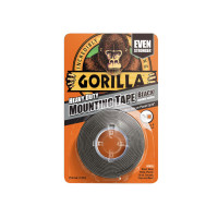 Gorilla Glue GRGHDMT Gorilla Heavy-Duty Double Sided Black Mounting Tape 25.4mm x 1.52m | Toolden