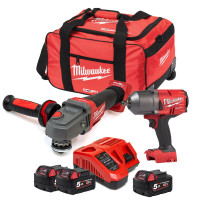 Milwaukee M18 18V 2 Piece Kit Impact Wrench & Grinder 3 X 5.0AMP Li-Ion