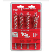 Milwaukee 48130400 Speed Feed 4 Piece Self-Feeding Wood Auger Bit Set