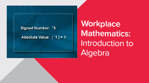 Workplace Mathematics: Introduction to Algebra