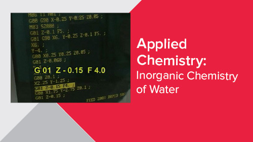 Applied Chemistry: Inorganic Chemistry of Water