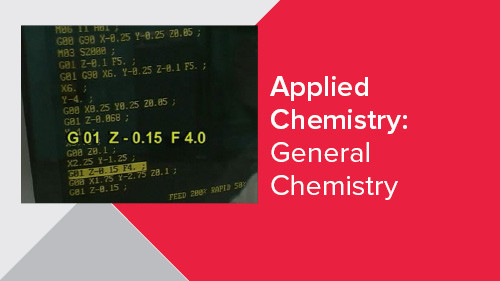 Applied Chemistry: General Chemistry