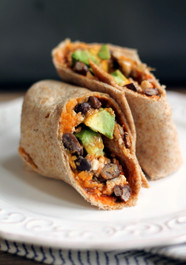 Sweet Potato, Black Bean & Egg White Breakfast Burritos