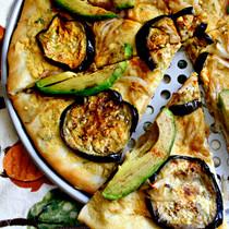 Eggplant, Avocado & Hummus Pizza