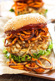 Santa Fe Veggie Burger with Sweet Potato Fries, Carmelized Onions and Chipotle…