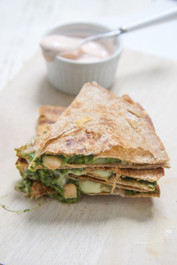 Kale and Spinach with Apple Quesadilla