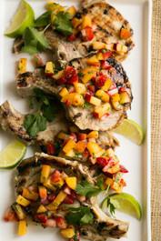 Grilled Pork Chops with Strawberry Peach Salsa