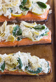 ARTICHOKE AND SPINACH ROASTED SALMON