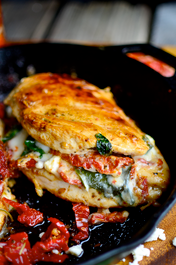 Sundried Tomato, Spinach, and Cheese Stuffed Chicken - Serves 2