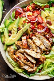 Honey Mustard Chicken, Bacon and Avocado Salad