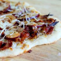 Plum Pizza with Caramelized Onions & Crispy Bacon