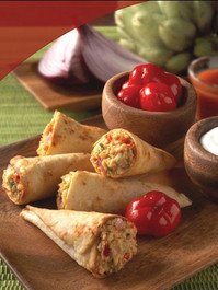 Chicken Quesadilla Trumpets - 50 pieces per tray