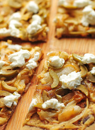 Hummus Olive Goat Cheese Flatbread