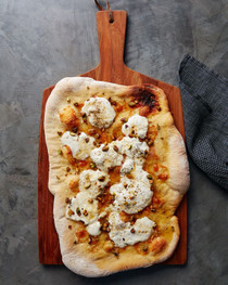 Truffle Pizza with Burrata Cheese and Honey