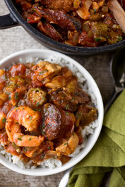 """Gumbo-laya"" Stew with Spicy Sausage, Chicken and Shrimp"
