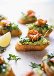 Garlic Shrimp and Avocado Crostini - 42 pieces per tray