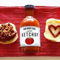 True Made Foods Vegetable Ketchup, Paleo Friendly, Non-GMO, 50% Less Sugar, 18 oz Glass Bottle