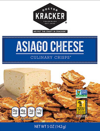 Doctor Kracker Culinary Crisps, Asiago Cheese, 5 Oz Pack of 2