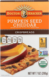 Doctor Kracker Pumpkin Seed Cheddar Crispbread, 7 oz (Pack of 2)