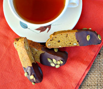 Pumpkin Biscotti Dipped in Chocolate - 1 Dozen