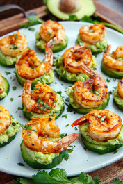 Blackened Shrimp Avocado Cucumber Bites - 42 pieces per tray